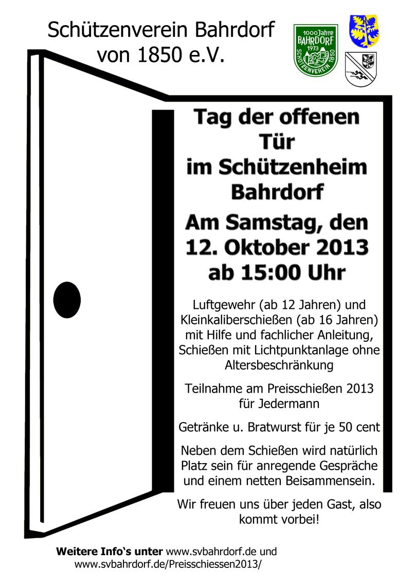 Tag offenen tür  Tag der offenen Tür am Samstag, den 12.10.2013 ab 15:00 Uhr «